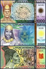 MAYA YUCATANIA 3 PCS UNC SET 1000 2000 5000 SOLES DE ORO 2012 2013 POLYMER