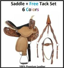 "Western Horse Saddle-Barrel Trail Youth-Kids Leather 10""12""13""  With Tack set"