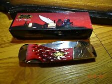 "3 3/4"" CLOSED POCKET KNIFE STEEL WARRIOR DARK RED JIGGED BONE HANDLE 440 SS BLAD"
