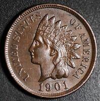 1901 INDIAN HEAD CENT - With LIBERTY & Near 4 DIAMONDS - AU UNC