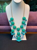 """Turquoise Green Blue Large Purple Bohemian Bib Statement Necklace Cluster Is 16"""""""