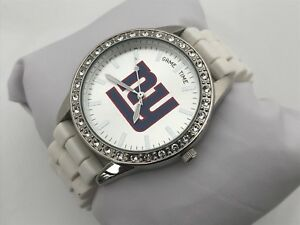 Game Time Women NY Watch White Silicon Rubber Band Crystal Accents Analog Watch