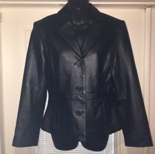 KC Collection Women's 100% LEATHER Lined Jacket Coat Size Small Black •New