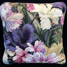 """Vintage Floral Needlepoint Lavender Olives Pinks 13"""" Pillow Finished Velour Back"""