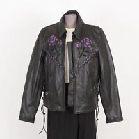 Womens Motorcycle Leather Jacket Size L Large Fringes Removable Liner