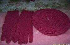 NWT J.Jill J Set Luxe Textured Beret & Gloves set Wool Cashmere OS Cerise Pink