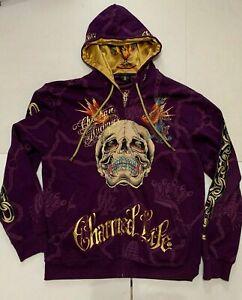 Ed Hardy by Christian Audigier Skull Rhinestone hoodie sweatshirt men jacket 2XL