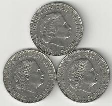 3 DIFFERENT 1 GULDEN COINS from the NETHERLANDS (1967, 1968 & 1969)