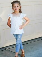 Girls Toddler White Eyelet Lace Flutter Sleeve Top Summer Shirt 2T 3T 4T 5 6 7 8