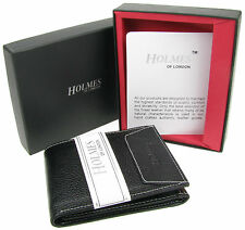 MENS LUXURY SOFT BLACK REAL LEATHER WALLET CREDIT CARD HOLDER PURSE UK NEW WD2