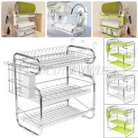 3-Tier Dish Cup Drying Rack Holder Organizer Drainer Dryer Tray Kitchen