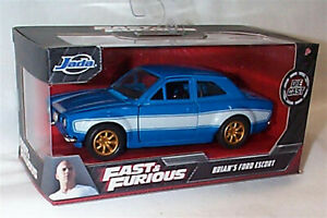Fast & Furious Brians Ford Escort Blue White Stripe 1-32 Diecast Jada 97188 RB