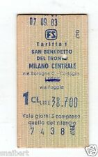 BIGLIETTO TICKET EDMONSON  SAN BENEDETTO DEL TRONTO MILANO CENTRALE  7-9-1983