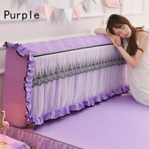Elastic Bed Headboard Slipcover Lace Ruffle Dustproof Protect Bedding Decor Chic