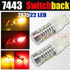 2x 7443 Dual Color Switchback Red/Amber 22 LED 2835 Chip Turn Signal Light Bulbs