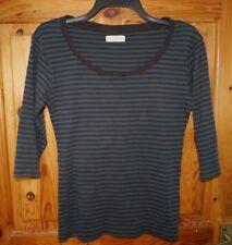 By Lysgaard brown & blue stripe 3/4 sleeve boatneck t-shirt M UK 12