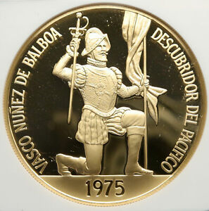 1975 PANAMA CONQUISTADOR BALBOA Liberty Vintage OLD Gold 500 Bal Coin NGC i92476