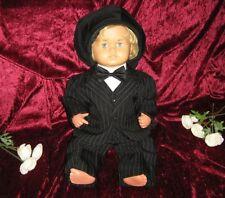 5tlg. Taufanzug Baby-Anzug Nadelstreifen schwarz Gr. 86/92 = ca. 21 Monate NEU