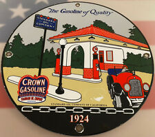 VINTAGE CROWN GASOLINE PORCELAIN SIGN GAS STATION PUMP PLATE MOTOR OIL SERVICE