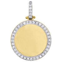 10K Yellow Gold Memory Frame Diamond Medallion Photo Engrave Pendant 1.05 CT.