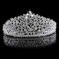 Lux Clear Crystal Queen Tiara Wedding Bridal Diamante Crown Headband Hairpiece