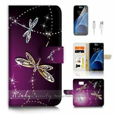 ( For Samsung S7 ) Wallet Case Cover P1844 Dragonfly