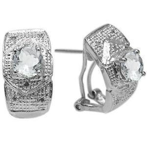 FINE GENUINE DIAMOND & WHITE TOPAZ PLATINUM OVER 925 STERLING SILVER EARRINGS