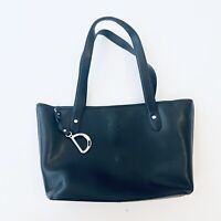 LAUREN RALPH LAUREN Epi Leather Black Newbury Shopper Tote Bag Purse