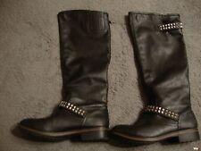 Lizzie Black Stud Rivet Knee High Riding Equestrian Boots Women Sz 8.5 GUC   119