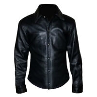 Mens Real Sheep Leather Very Hot Full Sleeve Shirt BLUF Gay Men Shirt