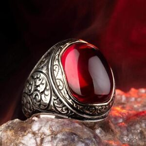 Solid 925 Sterling Silver Red Zircon Stone Turkish Men's Ring