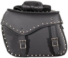 MEDIUM SIZE MOTORCYCLE PV LEATHER SADDLEBAGS w/DECORATIVE STUDS UNIVERSAL FIT