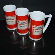 3 Vintage BUDWEISER Label Advertising Thermo Serv Plastic Beer Mugs Mancave