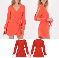 New Women Summer Orange Boho Chiffon Dress Cut Out Sleeves Beach Mini Sun Dress