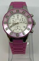 Ladies AquaMaster Chronograph Watch Pink Rubber Diamond Bezel 5 ATM
