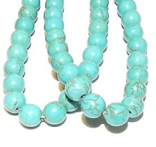 GR610f Blue-Green Turquoise 8mm Round Magnesite Gemstone Beads 15""