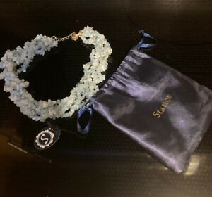 "Stauer Genuine Aquamarine Gemstone Multi-Strand Torsade Necklace 19"" - 21"""