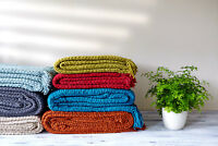 Luxury Chunky Chenille Knitted Sofa / Bed Throw Blanket in 7 Colours