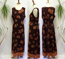 2603 Impressions Women L Maxi Shift Dress Slit Belted Floral Sleeveless Summer