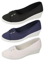 LADIES CANVAS BLACK NAVY WHITE PUMPS  SLIP ON MID WEDGE HEEL CASUAL SHOES F9721