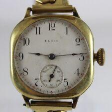 VTG 1909 Elgin Porcelain Dial Manual Wind Military Style Wrist Watch LOT#0412
