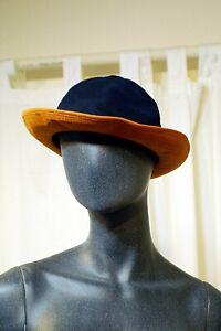 HERMES Bucket Hat by MOTSCH, NEW in orig Box 2-Tone Navy & Hermes Orange Sz 58