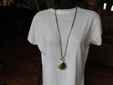 NEW CHICO'S ESTA Necklace Gold Tone Long Coil Chains with Teardrop Pendant $49.