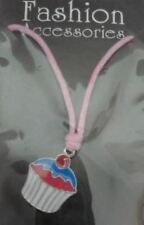 Cupcake Ladies Womens Girls Necklace Blue/Pink