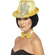 Women's Gold Sequin Trilby Hat Fancy Dress Dance Show Gangster Hen Party Fun Do