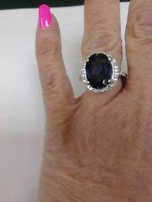 14KT white gold diamond iolite cocktail ring