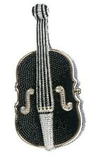 Judith Leiber Cello Violin Bag Black Silver Crystal Evening Minaudiere NEW