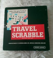 Vintage Travel Scrabble - Spears Games - Clip Tiles -COMPLETE
