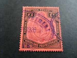 Nyasaland  1913  KGV  M/Crown  £1  Used (Fiscal)  stamp as per pictures