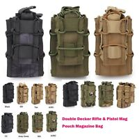 Airsoft Tactical MOLLE Magazine Pouch Bag Double Rifle & Pistol Mag Ammo Holster